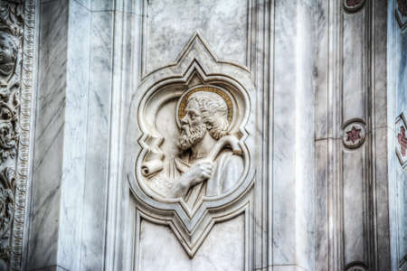 bas: San Francesco bas relief in Santa Croce cathedral in Florence, Italy Stock Photo