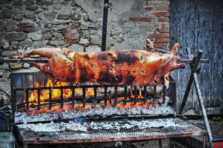 gridiron: roasted pig on the gridiron Stock Photo