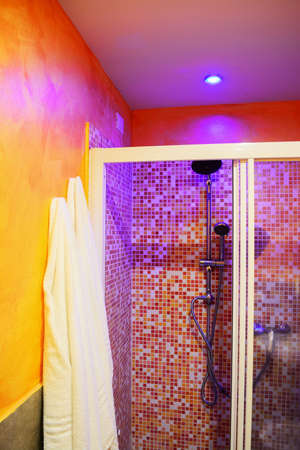 shower stall: shower stall and white towels in a colorful bathroom