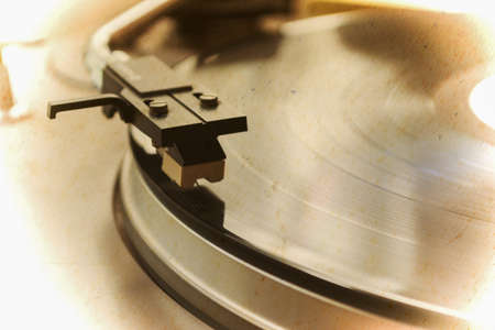 close up of a record player in vintage tone