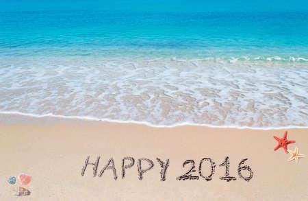 happy 2016 written on a tropical beach Stock Photo
