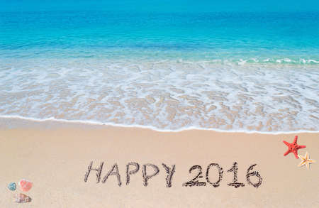 happy 2016 written on a tropical beach Stock Photo