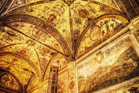 xvi: XVI century fresco in Palazzo Vecchio courtyard vault, Florence