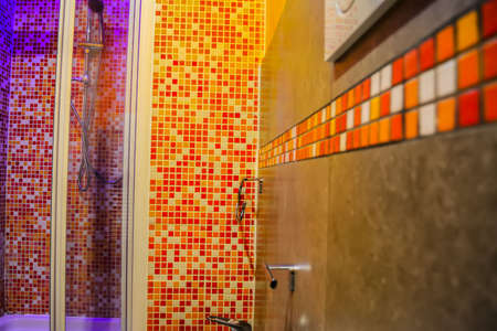 shower stall: close up of a colorful bathroom with mosaic