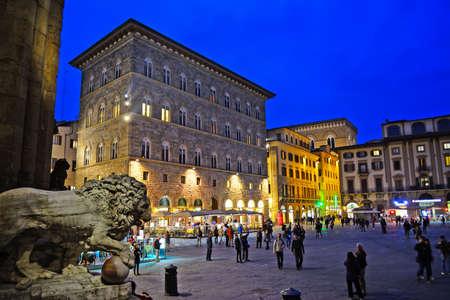Piazza della Signoria in Florence by night, Italy
