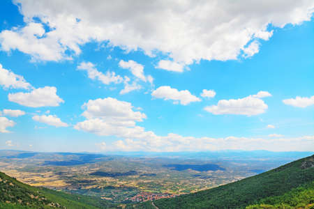 back country: panoramic view of Sardinian back country on a cloudy day, Italy