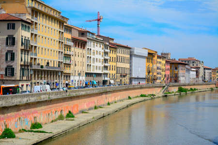 arno: Arno banks seen from Pisa riverfront, Italy Stock Photo