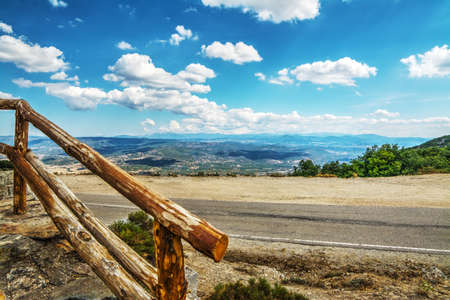 banister: wooden banister in Monte Pisanu, Sardinia Stock Photo