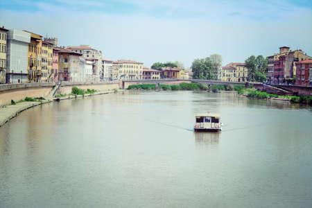 arno: boat in Arno river, Pisa Stock Photo