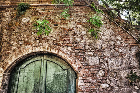 discolored: wooden door in a brick wall in hdr in Siena, Italy