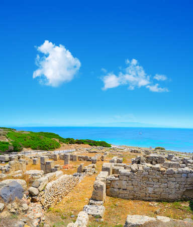 phoenicians: soft clouds over Tharros ruins, Italy