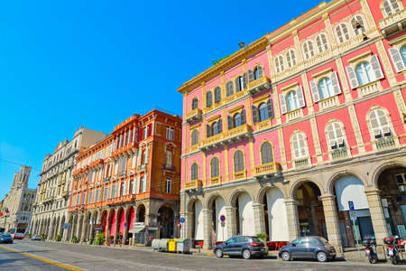 beautiful buildings in Cagliari seafront, Italy 스톡 콘텐츠