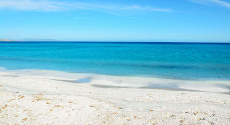 white sand beach: blue sea under a clear sky in Stintino, Italy