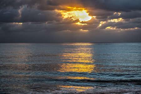 grey  sky: Grey sky over the sea in Alghero, Sardinia