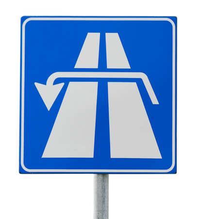 isolated sign: u turn road sign isolated on white background