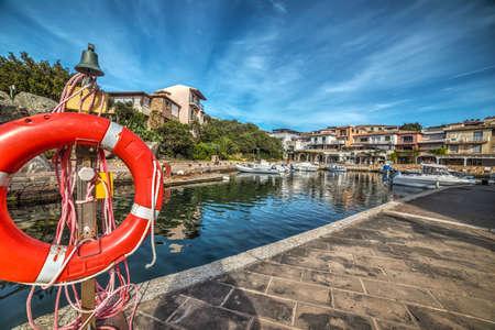 rotondo: life buoy in Porto Rotondo harbor in Costa Smeralda, Sardinia