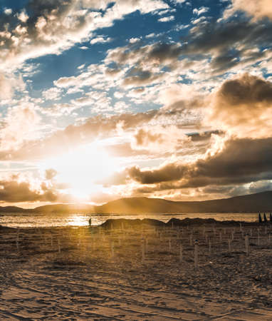 seaweeds: man silhouette walking under sun rays on the beach at sunset