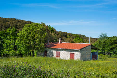farmhouse in a green field on a clear day Editorial