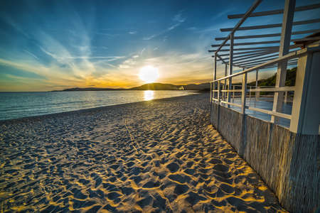 white terrace by the sea at sunset, Sardinia