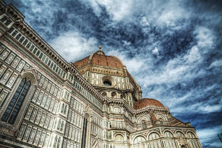 fiore: cloudy sky over Santa Maria del Fiore cathedral, Florence Stock Photo