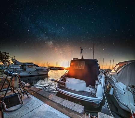 starry night: Starry night over Alghero harbor, Italy