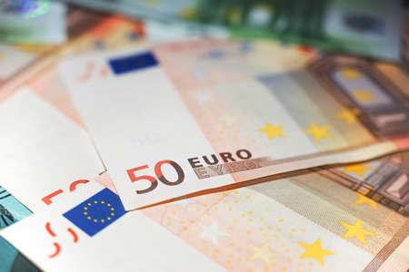 billets euros: close up of 50 euro notes