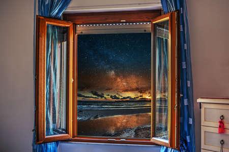 starry night: starry night seen through an open window