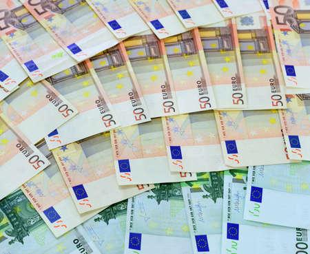 50 euro: close up of several 50 euro bills Stock Photo