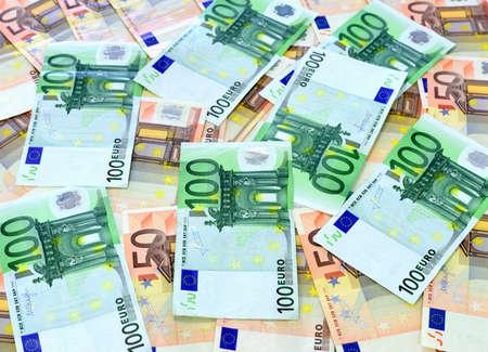 50 euro: 100 and 50 euro bills close up