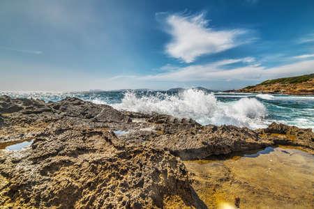 crashing wave in Sardinia, Italy Stock Photo