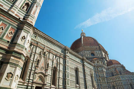 fiore: blue sky over Santa Maria del Fiore cathedral in Florence, Italy Stock Photo