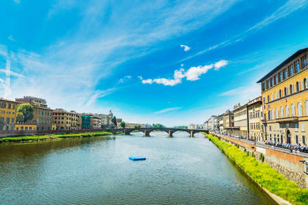 arno: Arno banks seen from Ponte Vecchio in Florence, Italy Stock Photo