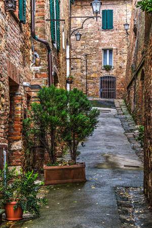montepulciano: narrow backstreet in Montepulciano, Italy Stock Photo