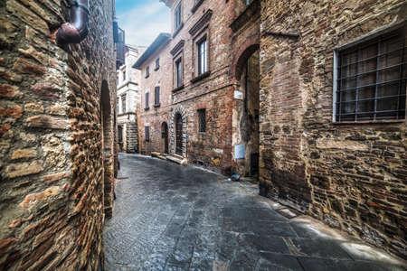 montepulciano: narrow alley in Montepulciano, Italy