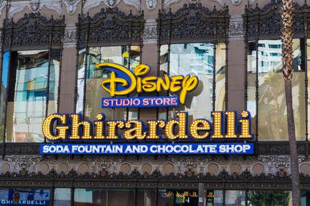 Hollywood boulevard: LOS ANGELES, CALIFORNIA - NOVEMBER 02, 2016: Disney and Ghirardelli signs in Hollywood boulevard, California