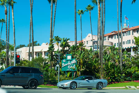 palm lined: LOS ANGELES, CALIFORNIA - NOVEMBER 02, 2016: The Beverly Hills Hotel on a clear day