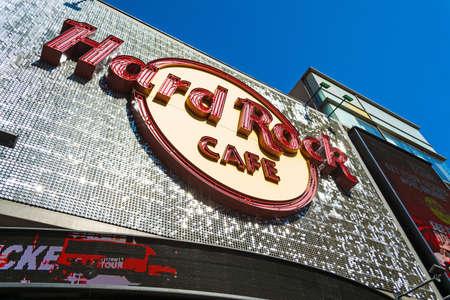 LOS ANGELES, CALIFORNIA - NOVEMBER 02, 2016: Hard Rock Cafe sign in Hollywood