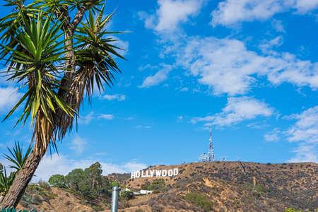 blue sky with clouds over Hollywood sign, California Redakční