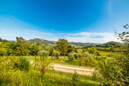clear sky over a Tuscan valley, Italy Stock Photo