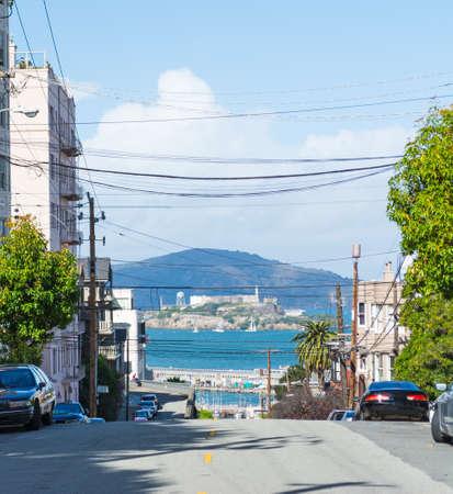 Alcatraz island seen from San Francisco, California Stock Photo