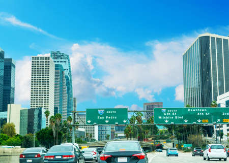 Traffic in 110 freeway in Los Angeles, California