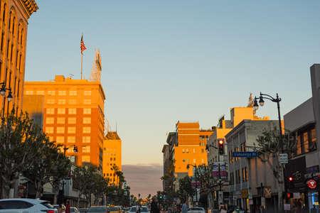 Hollywood boulevard: LOS ANGELES, CALIFORNIA - OCTOBER 27, 2016: Traffic jam in Hollywood boulevard