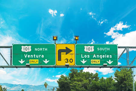 101 freeway crossroad sign in Los Angeles, California Stock Photo