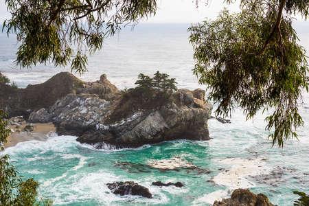 Big Sur coastline under a grey sky, California Stock Photo