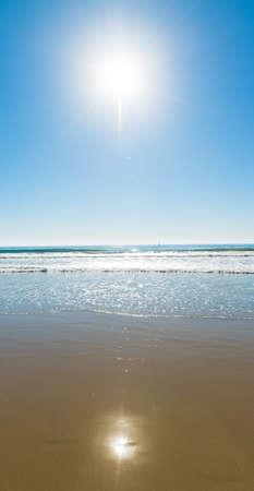 bright sun over Santa Monica beach, California