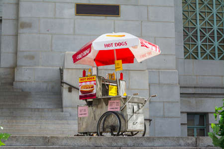 hot dogs cart in downtown Los Angeles, California