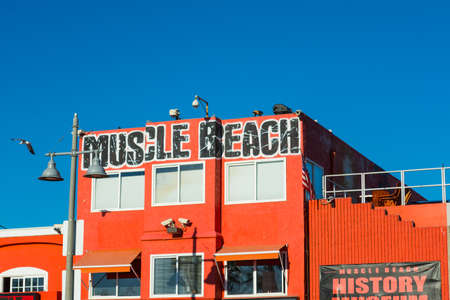 LOS ANGELES, CALIFORNIA - NOVEMBER 02, 2016: close up of Muscle Beach building in Venice beach