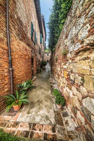 narrow backstreet in Montepulciano, Italy Stock Photo