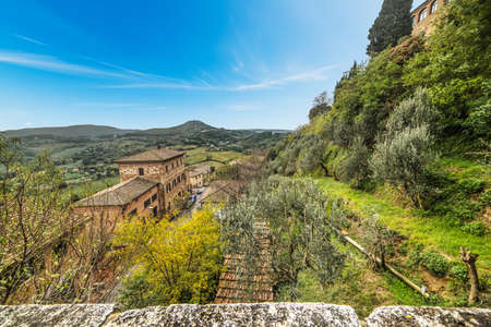 green landscape in Montepulciano, Italy Stock Photo