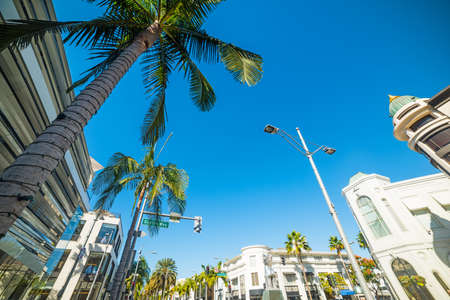 blue sky over Rodeo drive, California